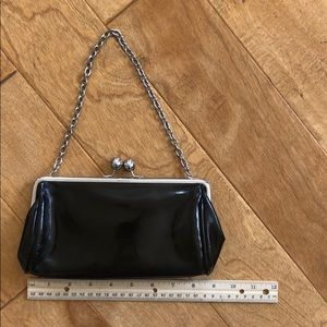 Kenneth Cole Black Patent Chain Evening Bag
